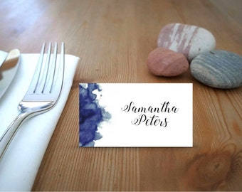 Navy Blue Watercolour Printable Place Cards
