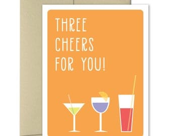 Congratulations Card - Greeting Cards - Congrats Cards - Celebration Cards - Graduation Card - New home card - New job card - Three Cheers