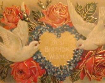 SALE Lovely Vintage Embossed Floral/Dove Postcard