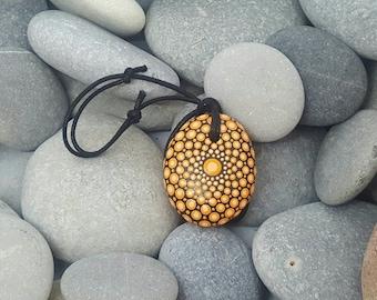 Orange Mandala Stone Nacklace - Painted Rock - Hand-Painted Mandala Rock - Painted Stone - Mandala Pendant - Chakra - Meditation - Unique