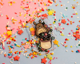 Totoro's soots collection! - Laser Cut Illustrated Acrylic Brooch - tattoo flash design pin collar clip studio ghibli my neighbour