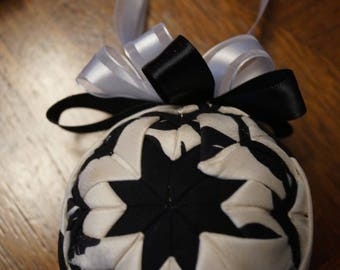 Black and white handmade holiday ornament