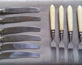 Old Vintage Soviet Flatware Set Of 6 Butter Knifes and 6 Forks, Stainless Steel, 1970s USSR