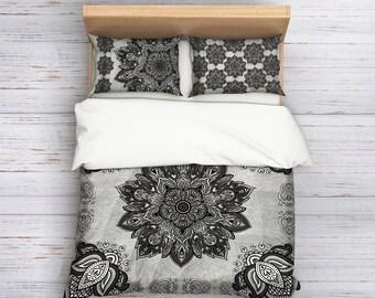 Lotus Flower duvet bedding set,Sacred Mandala duvet cover,Bohemian bedding,boho bedroom decor,Gray Bedding,Mandala Bedding,Sacred Mandala