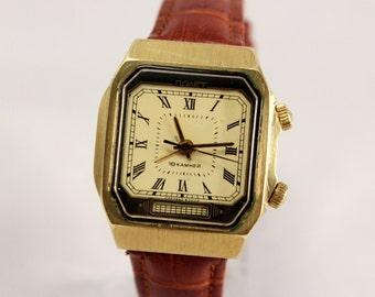 Vintage Square POLJOT SIGNAL Mechanikal ALARM Soviet Era Men's Watch Gold Plate