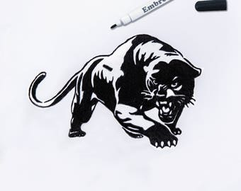 Panther patch Embroidered patch Black panther Iron on patch Large patch Cougar patch Black cougar Animal patch Jacket patch patch ED9034