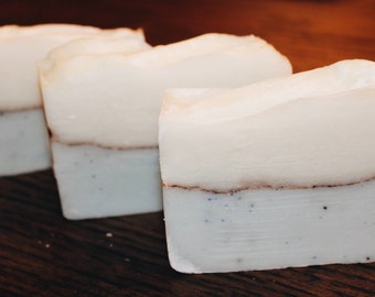 lavender-bergamot cocoa exfoliating bar soap
