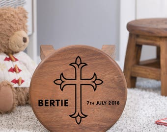 Christening Personalised Wooden Stool, Wooden Name Stool, Christening Stool, Kids Stool, Child's Stool, Wooden Christening, Christening Gift