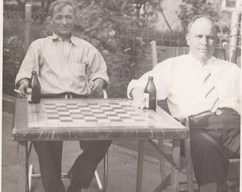Vintage Photo Men Drinking Beer at Chess Table Board Found Black & White Antique Paper Ephemera Art Mood Interior Design Snapshot Old