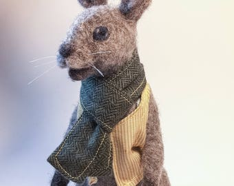 Needle-Felted Rabbit, gray brown wool bunny, felted animal sculpture