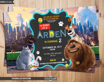 Secret Life of Pets Birthday Invitation, Secret Life of Pets Birthday, Secret Life of Pets Birthday Invitation, Secret Life of Pets Party