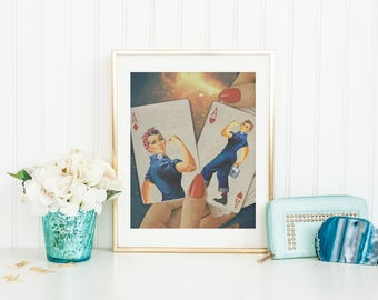 Rosie the Riveter Print, Rosie the Riveter Poster, Rosie the Riveter Wall Art, Feminism Print, Feminism Poster, Feminism Wall Art