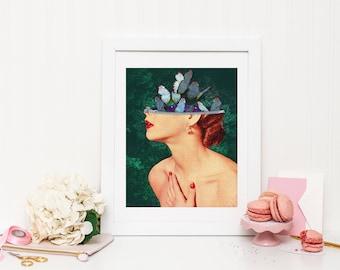 Dream Print, Dream Poster, Dream Wall Art, Butterfly Print, Butterfly Poster, Butterfly Wall Art, Brain Print, Intelligent Print, Vintage