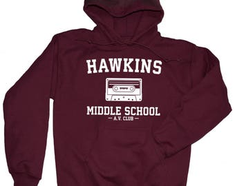 Hawkins Middle School AV Club Hoodie. Hawkins Middle AV Club Hooded Sweatshirt. Hawkins Middle School AV Club. S -3XL.