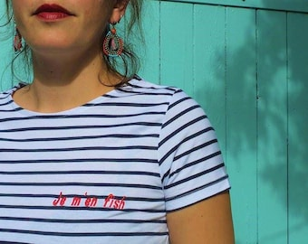 Personalized sailor. 100% cotton. Embroidered text.