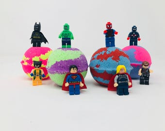 8 7.0 oz Justice League/Marvel Lego Inspired Bath Bomb Birthday Party Gift Set with Surprise Toy Figure Inside.