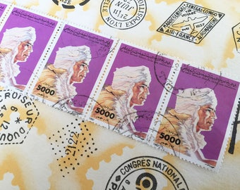 Set of 5 vintage libyan collection stamps from the 90's Muammar Gaddafi (Mouammar Kadhafi 5000 libyan dinars)