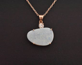 14K Rose Gold Natural Boulder Opal, and Diamond Pendant