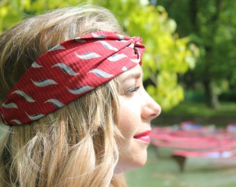 Perfect Turban, Headband with a twist in the front- sateen-  red color