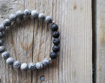 Essential oil diffuser bracelet yoga bracelet mala beads grey jasper bracelet meditation beads yoga beads lava beads picture jasper bracelet