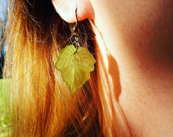 Green Lucite Leaf Charm Earrings