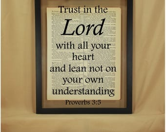 Trust in the Lord, Trust in the Lord with All Your Heart, Trust in the Lord Sign, Proverbs, Proverbs 3, Proverbs 3 5, Bible Verse Wall Art