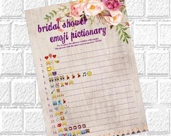 Emoji pictionary- bridal shower games funniest shower game wedding emoj Instant Printable Digital Download Bridal Shower Printables Floral