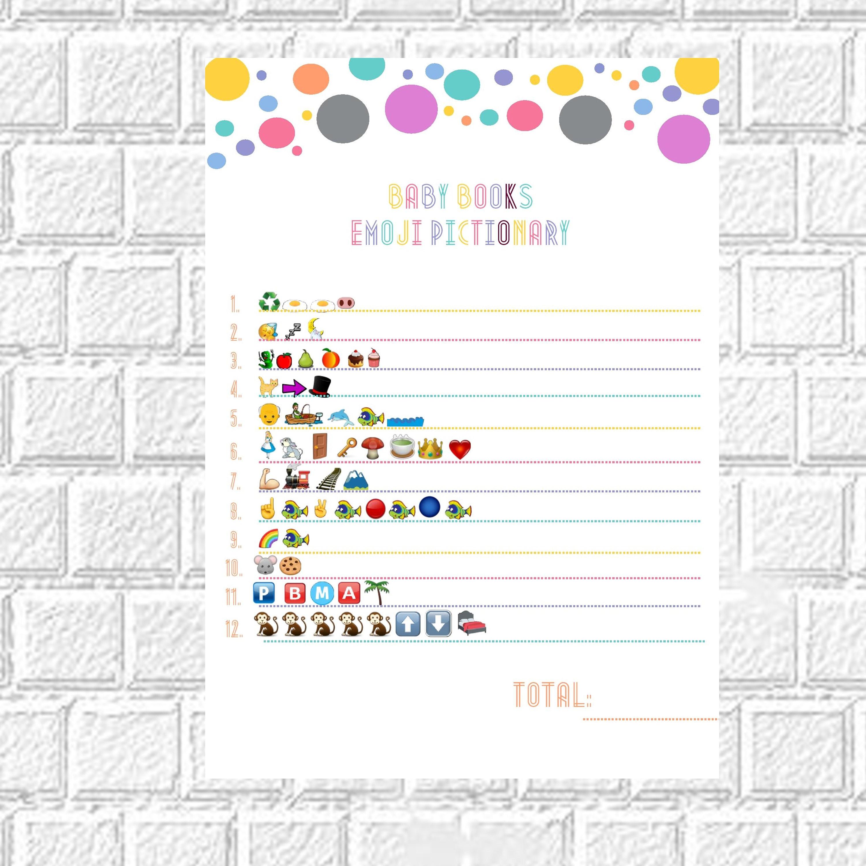 Kids book pictionary Baby book emoji Emoji baby shower Baby