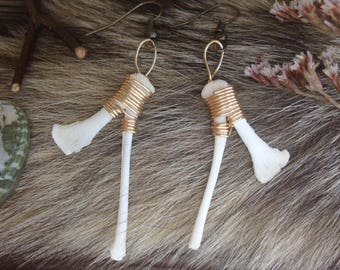 Chicken Sternum Earrings, Natural Bone, Chicken, Quail, Breastbone, White, Gold, Copper, Fishhook, Jewelry, Rooster, Bird, Hen, Wire wrappin