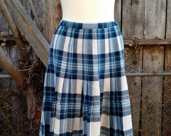 Vintage 1970s Unique Back To School Blue And White Cozy Fall Wool Skirt Nordstrom Aljean Canada