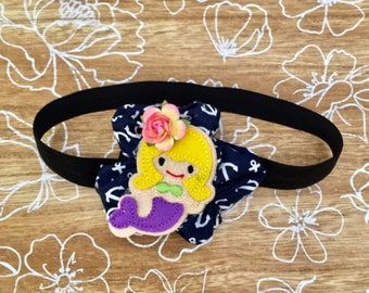 Mermaid headband, handsewn bow, anchors, sailor, navy blue, baby headband, toddler headband, hair clip, under the sea, first birthday