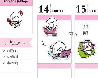 Planner stickers Ensi - Lazy day, S0098, Erin Condren stickers, Cute stickers, Relax stickers, Nap Time Stickers, Lazy Day Planner Stickers