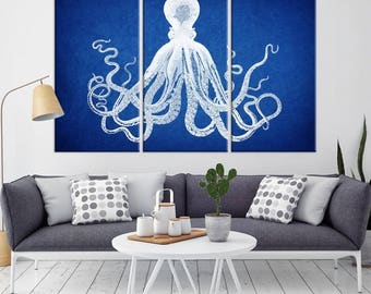 Large Wall Art Navy Blue Octopus Canvas Print, Navy Blue Octopus Canvas Print, Octopus Art, Octopus Canvas Print, Triptych Wall Art Octopus