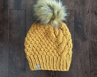 THE BLACKCOMB // Mustard // Cabled Beanie // Chunky Knit Hat // Faux Fur Pom Pom // Handknit Hat // Wool Hat