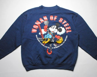 vintage Minnie Mouse classic sweathirt SIZE women's L blue DISNEY women of steel