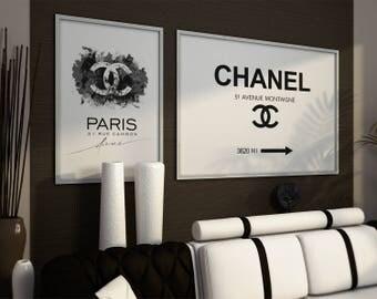 Coco Chanel prints. Coco Chanel logo, Coco Chanel sign. Chanel wall art, Chanel set prints, Chanel Fashion Prints Set. Coco Chanel Poster.