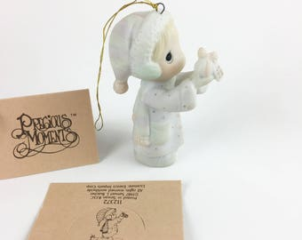 Vintage Precious Moments May God Bless You With A Perfect Holiday Season Miniature Ornament Figurine 112372