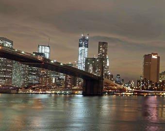 "Brooklyn Bridge and Manhattan 30"" x 10"" canvas"