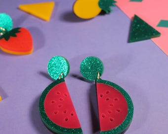 Bright Watermelon Earrings, laser cut acrylic