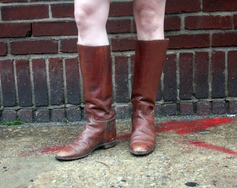 1900 Edwardian Paris London Manfield & Sons Equestrian Brown Leather Riding Boots  / Made in England