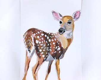 "Deer Painting Art Acrylic Original // on Paper ""A4"""