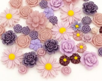 Flower Cabochon Mix - Purple (10 pcs by Random) Decoden Kawaii Cabochons Resin Cell Phone Deco