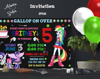 Equestria girls Invitation, My Little Pony Birthday, My Little Pony Invitation, My Little Pony Party, My Little Pony