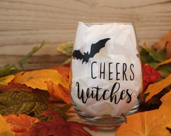 Cheers Witches Wine Glass | Cheers Witches Stemless Wine Glasses | Halloween Wine Glass |  | Cheers Witches | Wine Glass with Decal