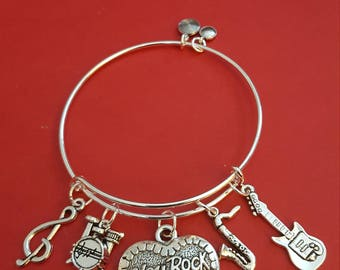Rock and Roll Themed Charm Bracelet