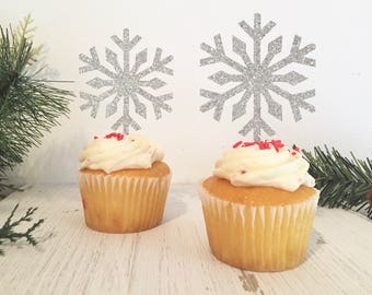 Snowflake Cupcake Toppers, Christmas Cupcake Toppers, Snowflake Party, Winter Wedding Decor, Holiday Party Decor, Winter Cupcake Toppers