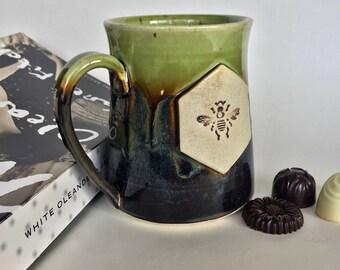 Large Handmade Green Pottery Mug
