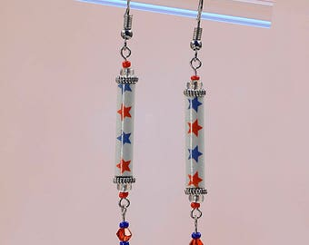 Patriotic American Flag Dangle Earrings #455