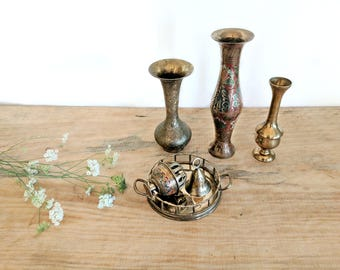 set of 3 brass vases   engraved solid brass   India brass