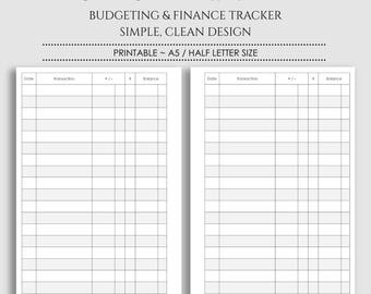 """Check Register ~ Printable Planner Inserts ~ Budgeting and Finance Tracker ~ Checkbook Register ~ A5 / 5.5"""" x 8.5"""" Instant Download"""